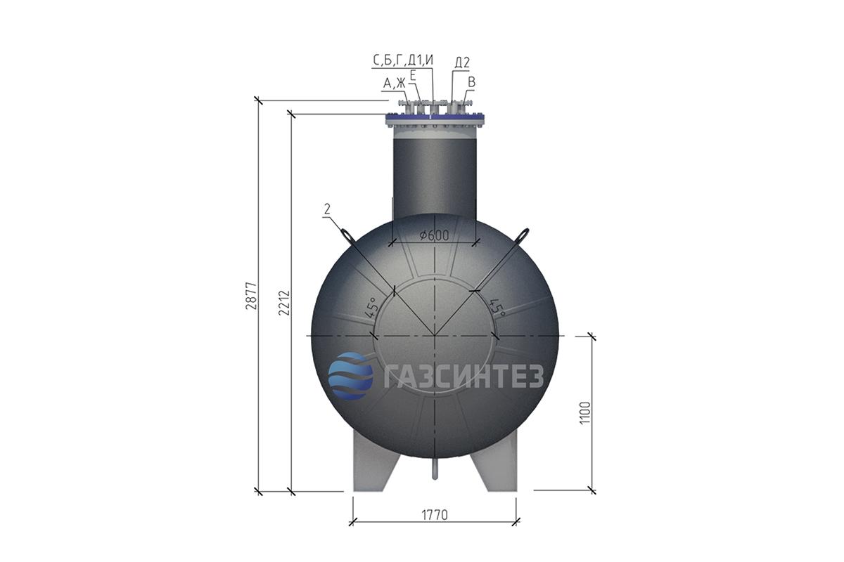 Габариты подземного газгольдера 30 м3 производства Завода