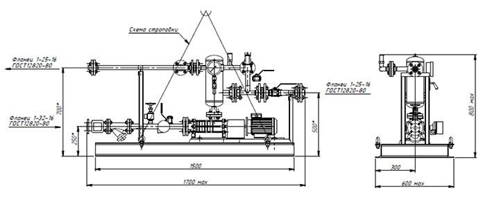 Габаритные чертежи насосной установки СИНТЭК для повышения давления СУГ