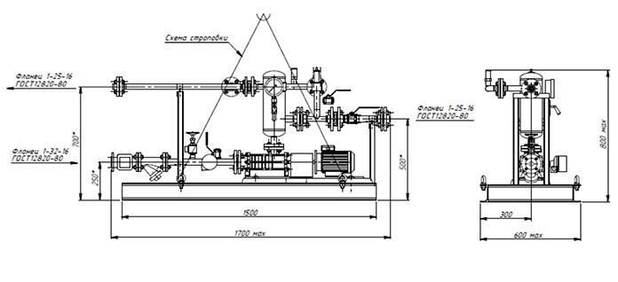 Габаритная схема самовсасывающей насосной установки