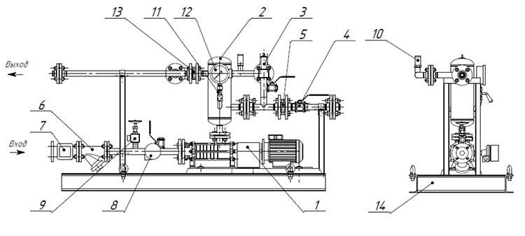 Принципиальная схема устройства насоса повышения давления СИНТЭК